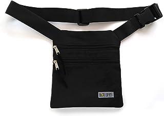 Riñonera negra de tela, bolso de cadera, bandolera, riñonera plana con bolsillos