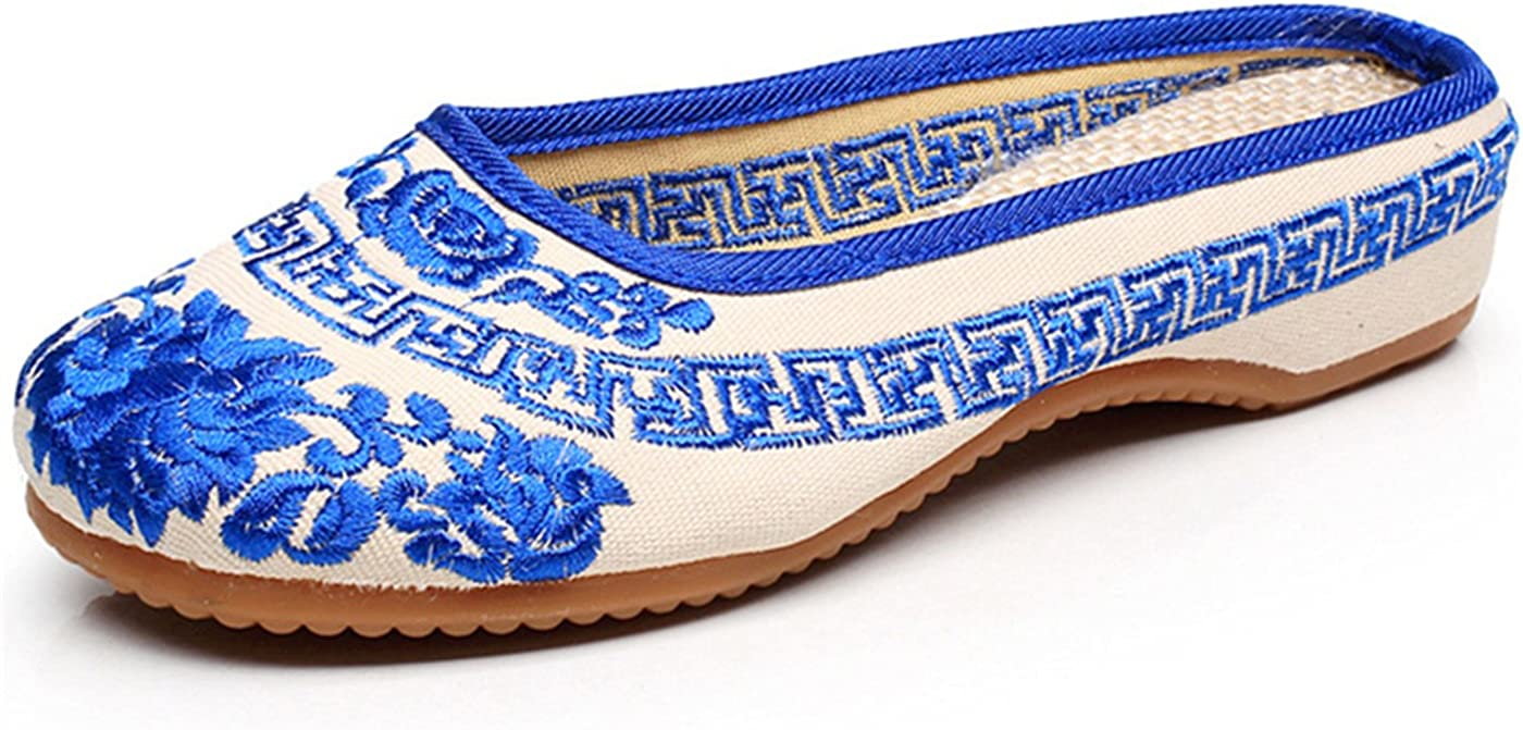 Qhome Womens Chinese Style Embroidery Round Toe Casual Walking Household Canvas Slippers
