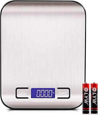 Kitchen Food Scale Digital Weight Grams and Oz, LED Backlit Display (AAA Battery), Stainless Steel