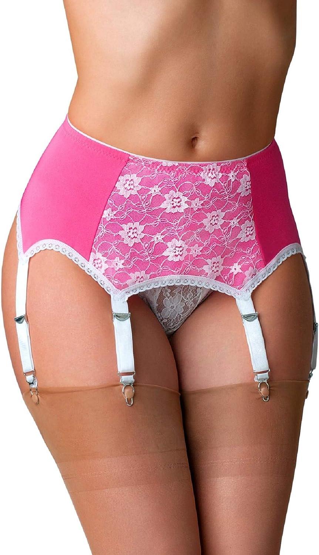 Nylon Dreams Max 61% OFF NDL66 Women's Pink Lace 6 Oklahoma City Mall Strap Suspend Belt Garter