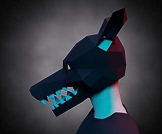 MASK Papercraft - Demon DOG - 3D animal- Diy adult paper craft pattern , printable pdf template, masquerade halloween carnival