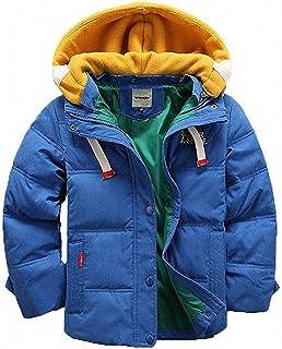 D.IIZOO 子ども ダウンジャケット ダウンコート 中綿コート キッズ 防寒 フード付き アウター 男の子 冬 ボーイズ (ブルー, 130cm)
