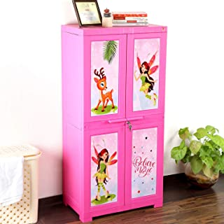 Cello Novelty Big Fairy Kids Plastic Cupboard with 3 Shelves(Pink)
