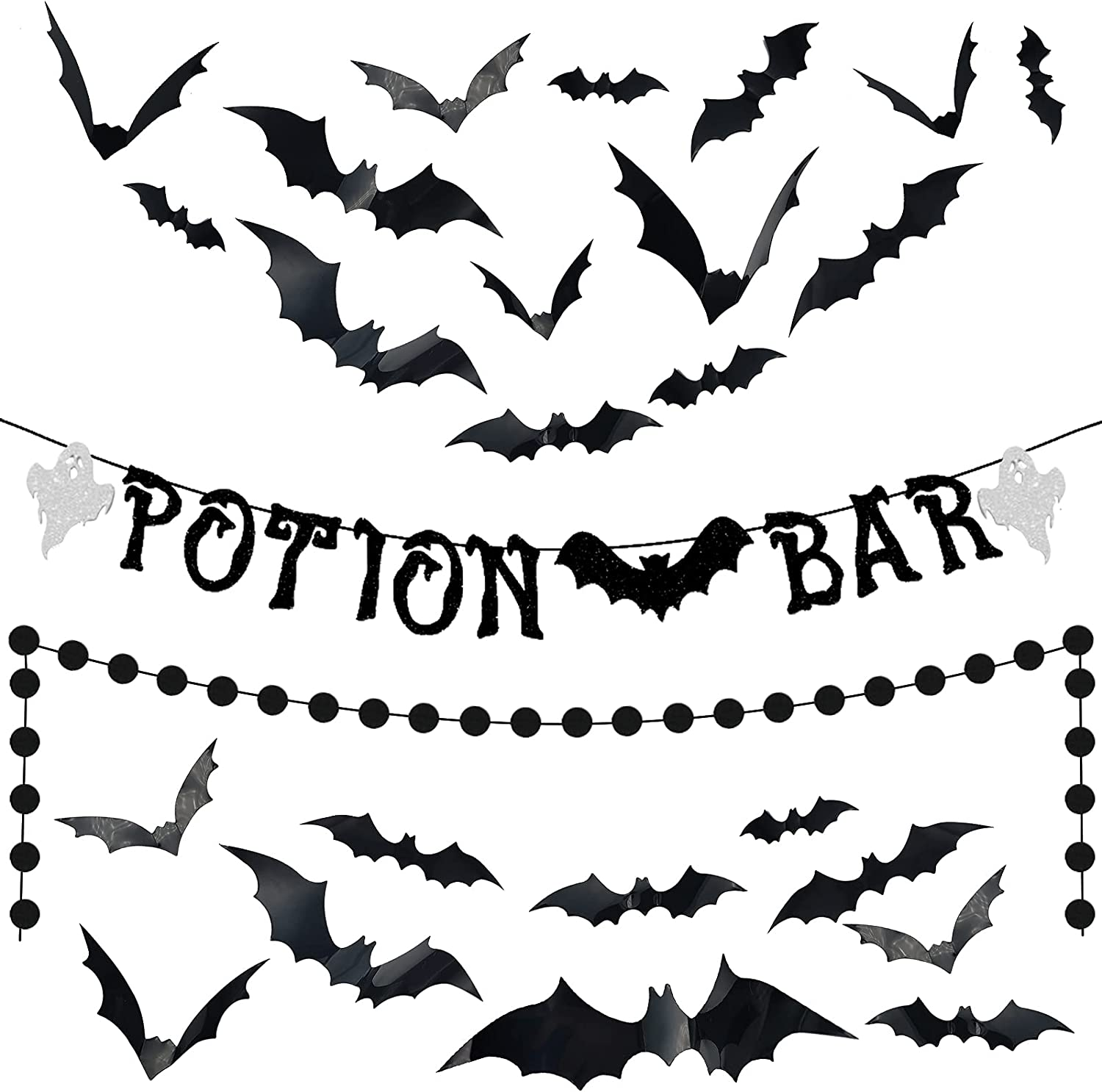 Halloween Potion Bar Ghost Bat Glitter Banner Black Circle Dots Garland and 24 pieces 3D Bat Decor Halloween Witches Party Decorations Hocus Pocus Party Supplies Haunted Houses Home Mantel Decor Photo Booth Decors