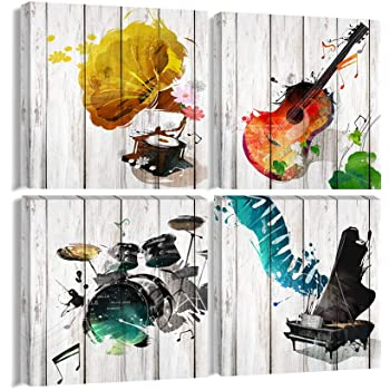 "Large Music Canvas Wall Art Guitar Piano Phonograph and Drum Set Paintings Prints Wooden Style Gift for Music Lover 4 Panels Wall Decor for Living Room Bedroom Home decor Framed Ready to Hang-20""x20""x4Pcs"