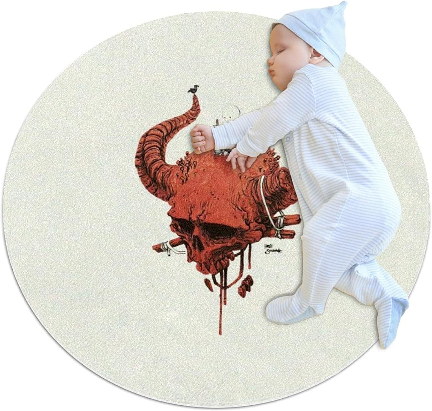 Skull Cash special price Ranking TOP9 Magic Horn Round Polyester Nursery Play Kids Rug