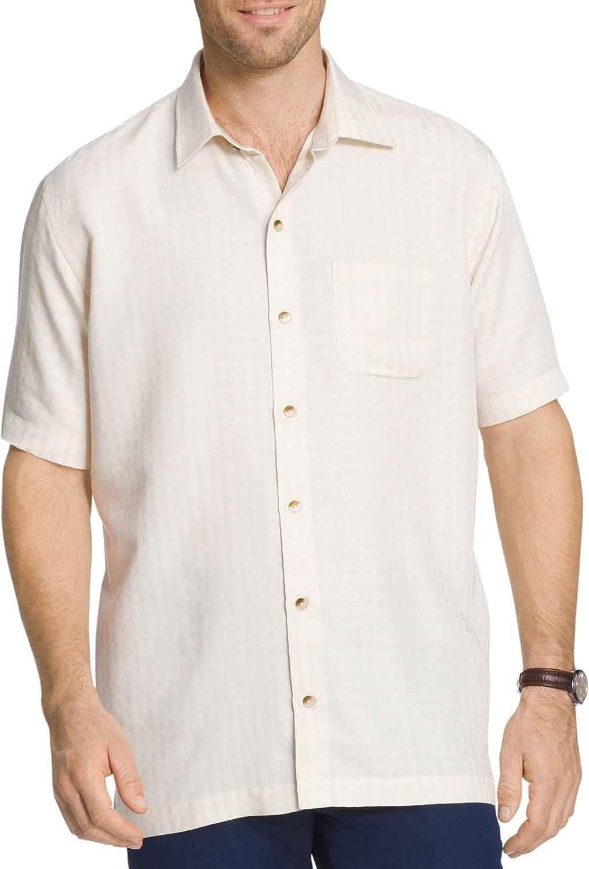 Van Heusen Men's Big and Tall Air Short Sleeve Button Down Poly Rayon Check Shirt