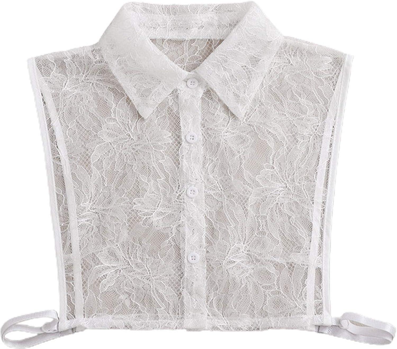 YOUSIKE Detachable Blouse, Women Winter Decorative False Fake Collar See-Through Hollow Out Floral Lace Detachable Half Shirt Blouse Lapel Button Down Sweater Clothes Accessories