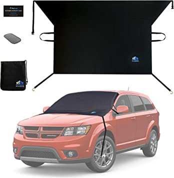 EzyShade Windshield Snow Cover + Bonus Item. See Size-Chart with Your Vehicle. Car Windshield Cover for Car, Truck and SUV. Thick Auto Winter Protector Keeps Ice, Frost and Snow Off. Standard (M) Size: image