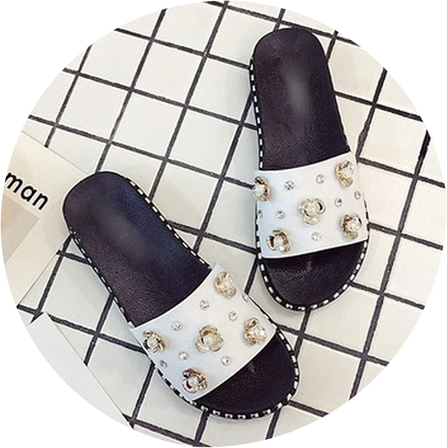 Summer Flat Sandals and Slippers Students Rhinestone Wear Non-Slip Flip Flop.