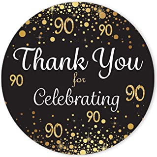 Black and Gold 90th Birthday Thank You Stickers - 1.75 in - 40 Labels