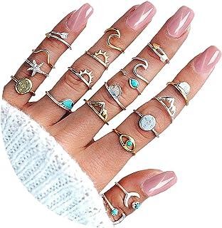 CSIYANJRY99 Boho Gold Silver Rings for Women Star Moon Wave Knuckle Ring Sets for Teen Girls Multiple Rings Bulk Pack Bohe...