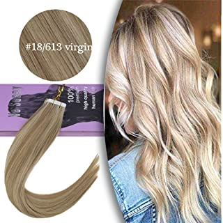 VeSunny Remy Virgin Tape in Hair Extensions Human Hair #18 Ash Blonde Highlighted #613 Bleach Blonde Virgin Tape in Extensions With Salon Quality 20pcs 40g 18inch
