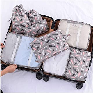 8Pcs Waterproof Travel Storage Bags Luggage Organizers for Shoe Toiletry Underwear Suitcase Packing Bag Classified Clothes,Feather