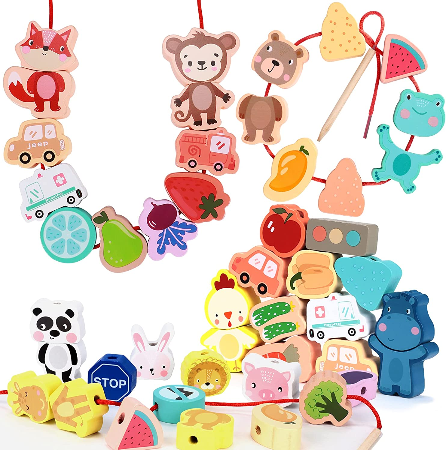 57 PCS Bombing new work Lacing Beads Wooden Threading Animal String Animer and price revision Primary