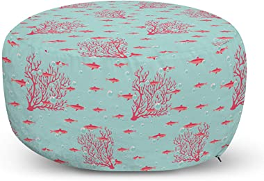 Ambesonne Coral Ottoman Pouf, Aquatic Pattern with Little Fishes and Coral Reef Bubbles Water, Decorative Soft Foot Rest with Removable Cover Living Room and Bedroom, Dark Coral Baby Blue