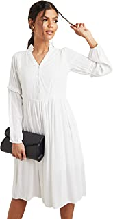 Button Closure Pleated Midi Women's Dress with Bishop Sleeves