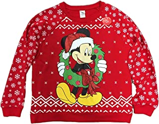Junior Women's Mickey Mouse with Wreath Light Up Christmas Holiday Sweatshirt