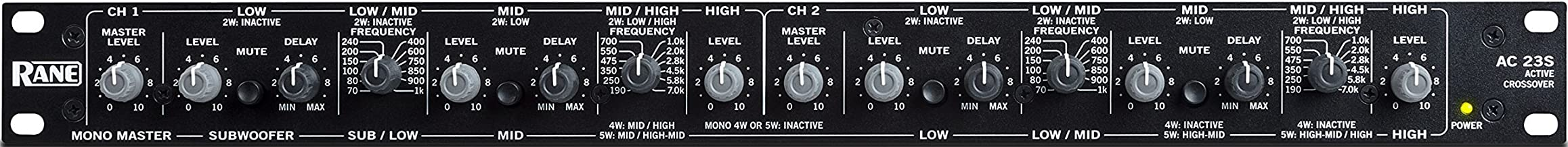 Rane Active Crossover,  Stereo 2 or 3-Way, or Mono 4 or 5-Way; Linkwitz-Riley Alignment with 24 dB per Octave Slopes; Black; 1.75