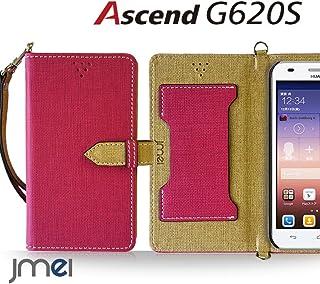 Ascend G620S ケース JMEIオリジナルカルネケース VESTA ホットピンク Huawei アセンド ファーウェイ simフリー スマホ カバー スマホケース 手帳型 ショルダー スリム スマートフォン