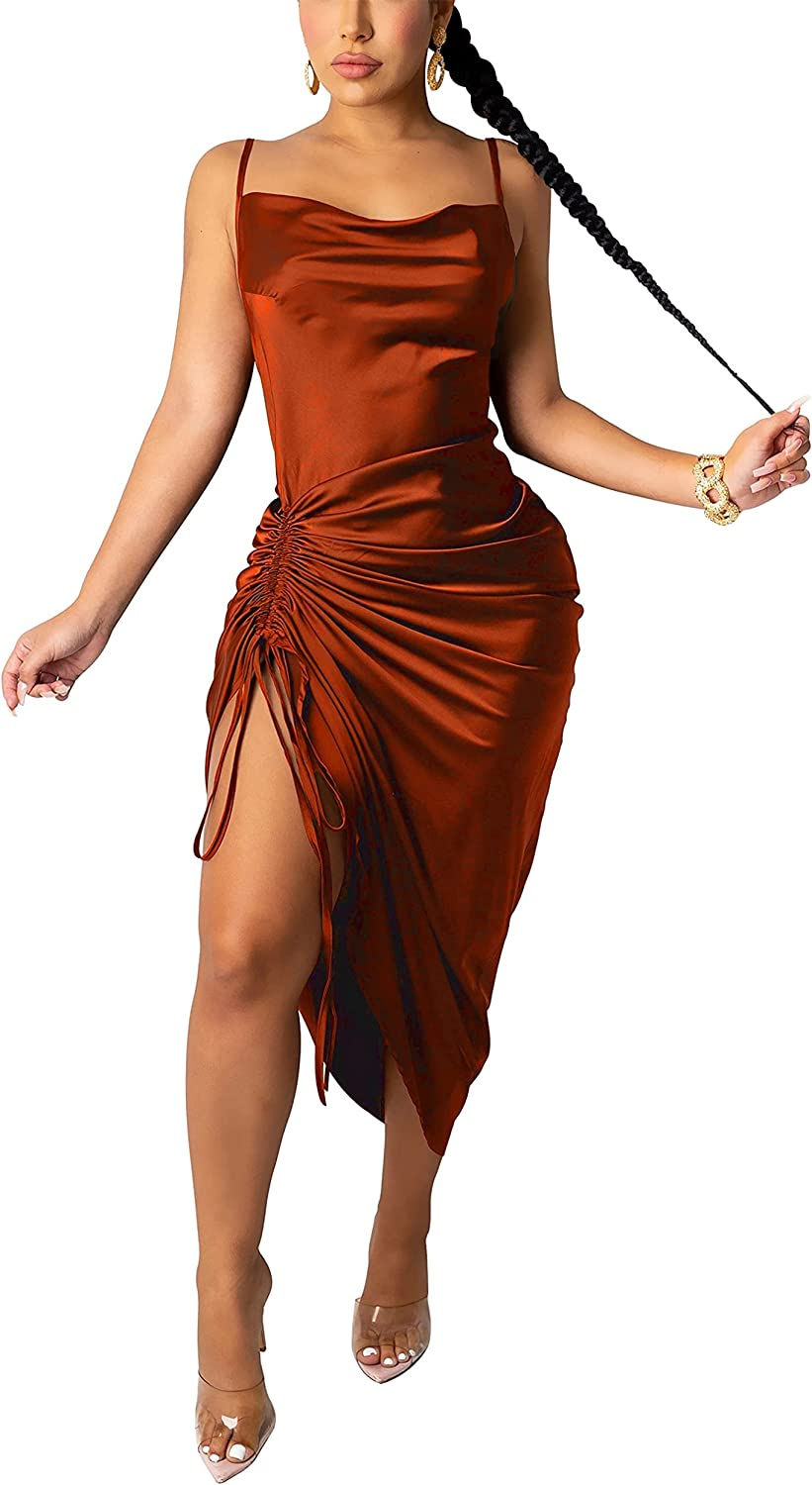 Sexy Dress for Women Sleeveless Spaghetti Strap Backless Bodycon Drawstring Ruched Evening Party Night Club Midi Dresses