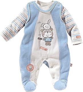 Bornino Strampler-Set Nicki Bär und Hase 2-TLG. - Babystrampler & Langarmshirt - mit Tiermotiven & Stickereien - hellblau/beige