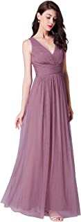 Women's Double V-Neck Floor-Length Bridesmaid Dress 07526