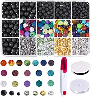 TOPHOUSE Lava Bead Kit, 600 Pcs Lava Beads Stone Rock with Chakra Beads and Spacer Beads for Essential Oils Jewelry Making, Black & Colored