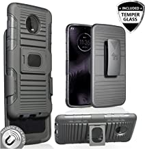 Customerfirst Cover for Motorola Moto Z4 Play/Moto Z4 [Magnet Mount Ready] Ring Armor Holster 5 in 1 Rugged Case with Ring Finger Holder, Kickstand, Belt Clip & Tempered Screen Moto Z4 (Black)