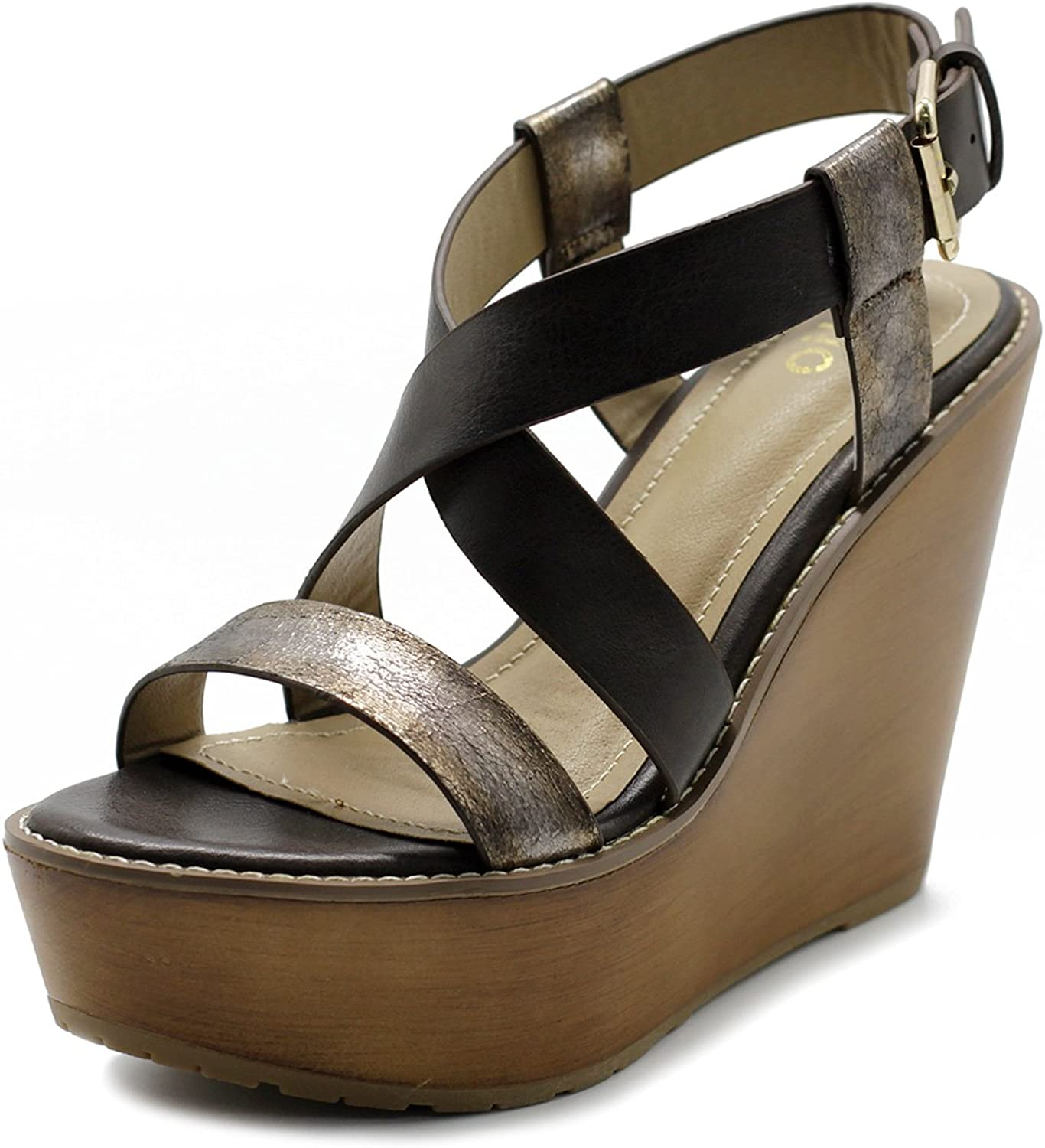 Ollio Womens shoes Vintage Burnish Wedge Cross Strap Sandal