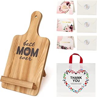 Cookbook Stand For Mom Gifts, Yimerlen Recipe Cookbook Holder, Foldable and Portable Kitchen Wooden Cooking Book stands f...