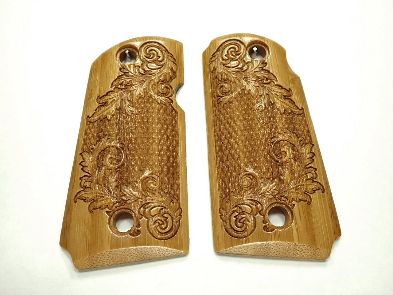 Bamboo Large discharge sale Floral Checker Kimber Micro store Te 9 Grips Engraved Checkered