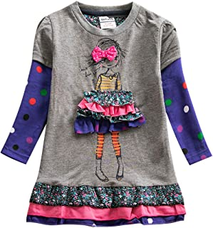 JUXINSU Toddler Girl Cotton Long Sleeve Dress Flower Animal Casual Dresses for Baby Girls Clothes 3-8 Years