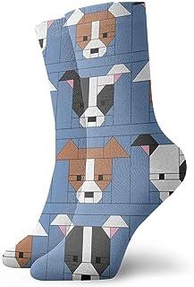 Luxury Calcetines de Deporte Dog Gone Cute Tutorial Blocks Unisex Funny Art 3D Print Casual Crew Socks Athletic Crew Socks
