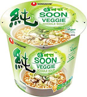 Nongshim Soon Cup Noodle Soup, Veggie, 2.6 Ounce - PACK OF 12