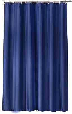 Sfoothome シャワーカーテン 布製 防カビ 防水性 バスカーテン 防カビ おしゃれ (90cm*180cm, 海軍青)