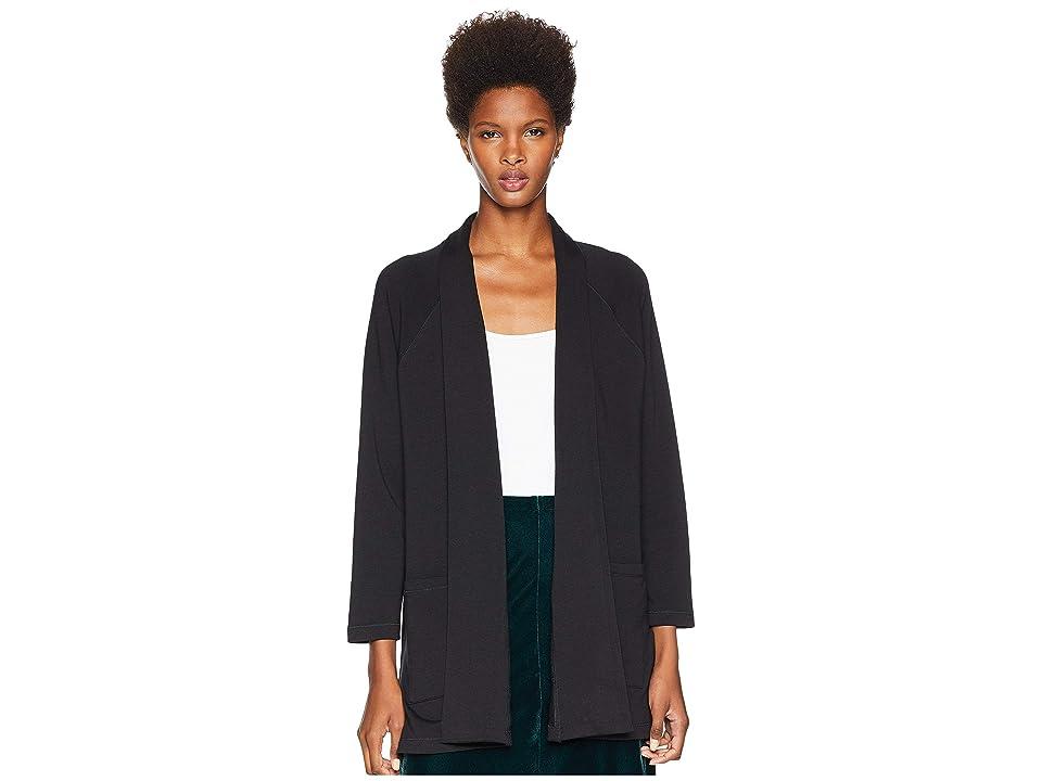 Eileen Fisher Tencel Organic Cotton Fleece Kimono Long Cardigan (Black) Women