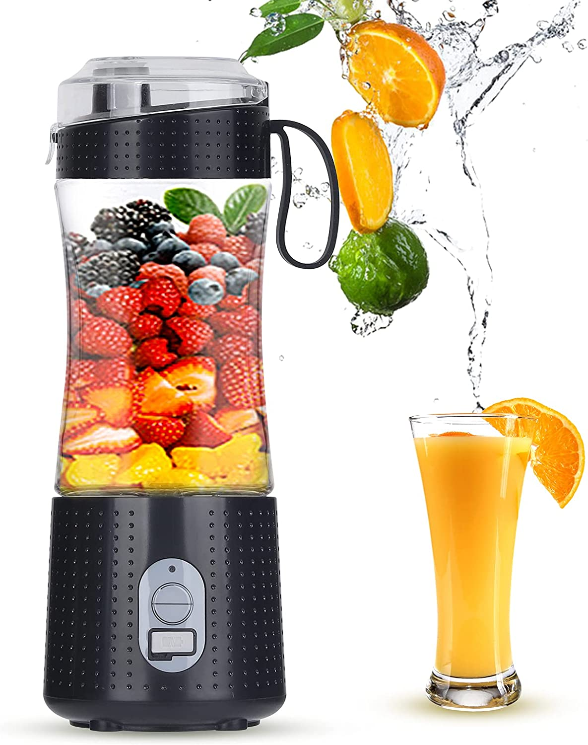 Multifunctional Portable Blender, Juicer Mini Blender for Smoothies, Shakes and Juice, Personal Size Blender USB Rechargeable with Six Blades, Juicer Detachable Cup for Home, Office, Travel and Outdoor (4000mAh, 380ml)