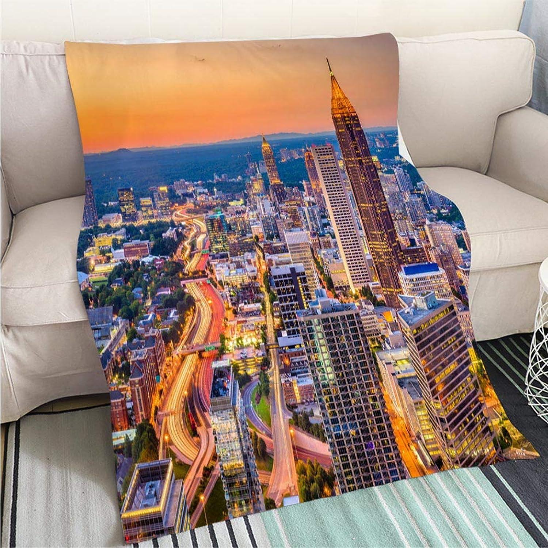 BEICICI Art Design Photos Cool Quilt Atlanta Georgia USA Skyline Living Room Bedroom Warm Blanket