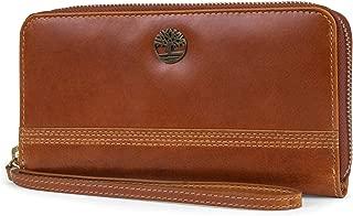 Womens Leather RFID Zip Around Wallet Clutch with Wristlet Strap