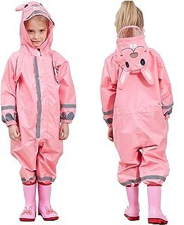 JinBei Impermeable Niña Chaquetas Lluvia Niño Chubasqueros Infantil Traje de Lluvia Capucha Mono Grande Frozen Poncho Pant...