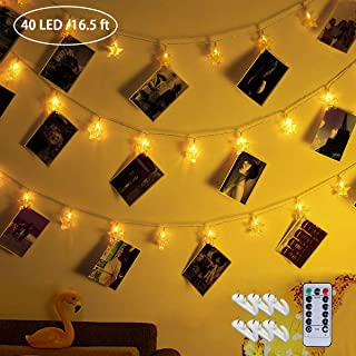40 LED Photo Clips String Light 16.5ft Photo String Lights with Clips, i.VALUX Fairy Lights Battery Operated & USB Powered - 8 Modes - 6 Wall Hooks - Hanging Lights for Bedroom, Dorm decor, Picture