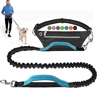 LANNEY لیش سگ رایگان سگ برای اجرای تمرین پیاده روی در حال پیاده روی آموزش پیاده روی ، سگ جمع شونده Bungee دور کمر برای سگ های متوسط تا بزرگ ، کمربند قابل تنظیم ، کمربند قابل تنظیم ، بخیه های بازتابی ، دسته دوتایی