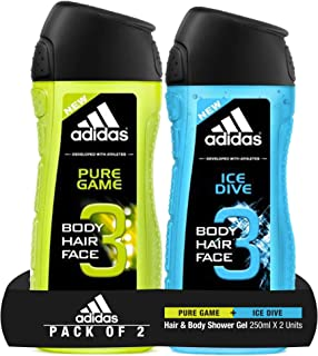 Adidas Pure Game Shower Gel, 250ml with Ice Dive Shower Gel, 250ml