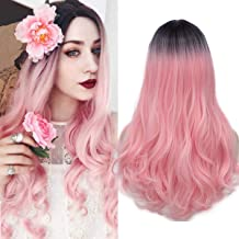 Long Pink Wig Womens Curly Hair Wigs Synthetic Heat Resistant Party Wigs 005PK