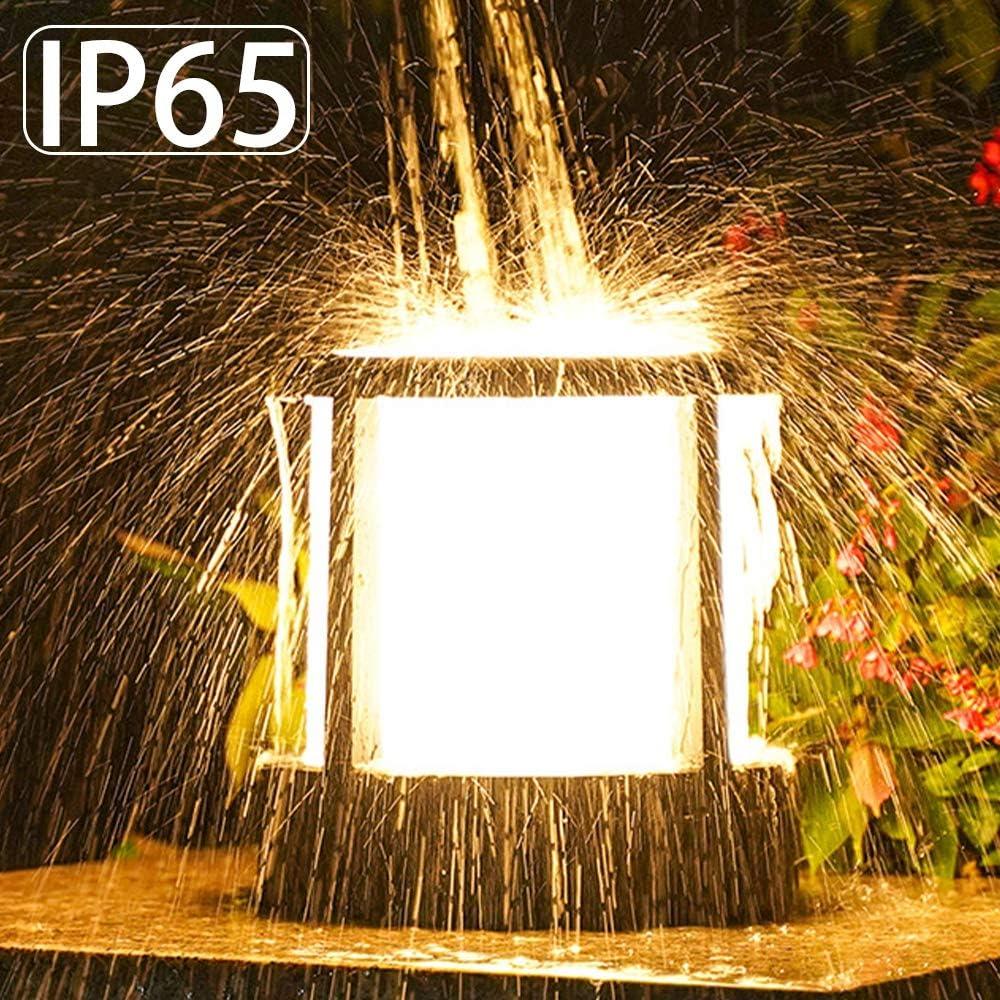Patio Porche Farola Pathway Cesped AWISAWIS Luces de Jard/ín de Exterior Negro,H: 21cm Jard/ín Impermeable LED Luz de Paisaje Moderna Luces de Pedestal L/ámpara de Jard/ín para Calzada