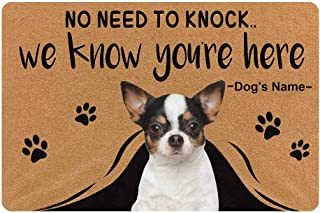 MyPupSocks Custom Personalized Text Name Pet Dog Cat Photo No Need to Knock We Know You're Here Doormat with Pet Name 23.6...
