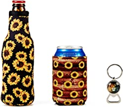 Reusable Insulated Ice Beers Can Sleeves - Beer Coozies For Cans Koozies Neoprene Cup Holder Drinks Sleeve Perfect Insulator Sleeve & Bottle Opener Used for Beer Bottles, Canned Drinks- Sunflower