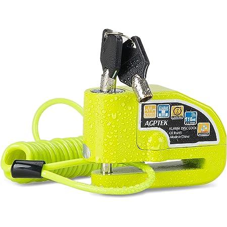 AGPTEK Lucchetto Antifurto Moto con 1,5 m Reminder Cavetto,Bloccadisco Moto Portatile da 7 mm con Allarme Sonoro da 110 dB Blocco Antifurto per Motocicli,Scooter,Biciclette,Verde Fluorescente