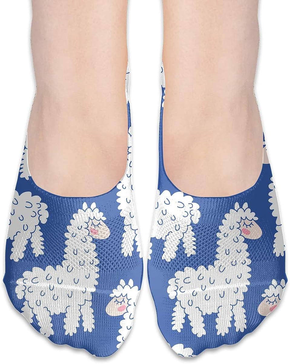 No Show Socks Cute Cartoon Lama Cotton Thin Non Slip Low Cut Invisible Sock